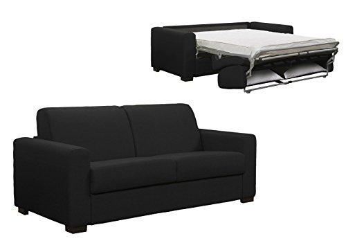 Mobilier Deco Canapé Convertible 3 Places Gris Carbone Couchage 2 Personnes