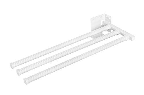 Handtuchstange Bad & Küche Handtuchhalter ausziehbar weiß - Modell SECCO 3143-90 | Handtuch-Auszug 3-armig | Länge: 430 mm | Möbelbeschläge von GedoTec®