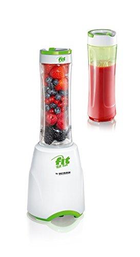 SEVERIN Smoothie Mix & Go, 600 ml, ca. 300 W, Inkl. 2 Trinkbehälter mit Deckel, SM 3735, Weiß/Grün