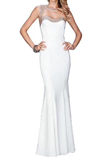 Ivydressing Damen Elegant Perlen Rueckenfrei Etui-Linie Partykleid Lang Promkleid Festkleid Abendkleid Weiß
