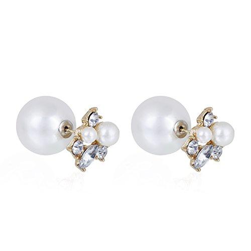 fasherati weiss doppelt Seiten Strass Wasser Drop Elegante Faux Perlen Ohrstecker Ohrringe für Mädchen