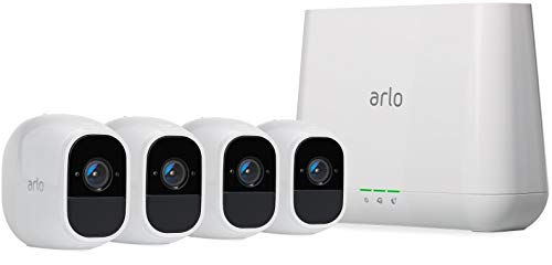 Arlo Pro 2 Smart Home 4 HD-Überwachungskameras und Sicherheitssystem (Funktioniert mit Alexa, 130 Grad Blickwinkel, Nachtsicht, Wetterfest, 2-Wege Audio) weiß, VMS4430P