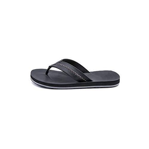 Fairy Stadt Herrenschlappen echtes Leder Hausschuhe Strand Schuhe für Männer Outdoor-Sandalen Plus Size, Schwarz, 40