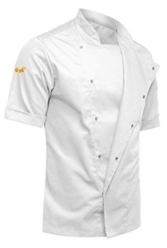 KERMEN - Kochjacke mit verdeckten Druckknöpfen YKK Bäckerjacke Kurzarm weiß XL (Kurzarm-kochjacke)