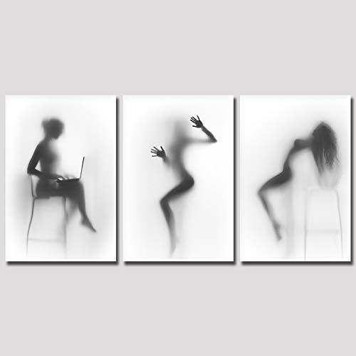 Rahmenlose Leinwand Schwarz Und Weiß Sexy Nackte Frau Wandkunst Poster Leinwand Malerei Badezimmer Wanddekoration -