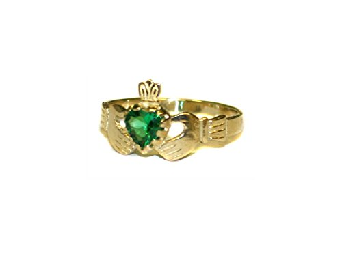k Irish 9ct Gelb Gold Smaragd Grün CZ Stone Set Damen Claddagh Ring. ()