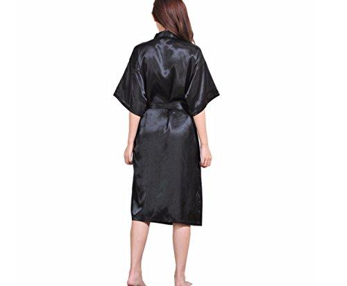 GSHGA Männer Und Frauen Paare Pyjamas Kleider Nachgemachte Seide Sommer Reine Farbe Seide Bademantel (Black Kostüm Kleinkind Kitty)