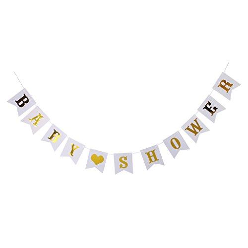 e Bunting Banner Papier Hängende Girlande Baby Taufe Babyparty Dekor - Gold Weiß ()