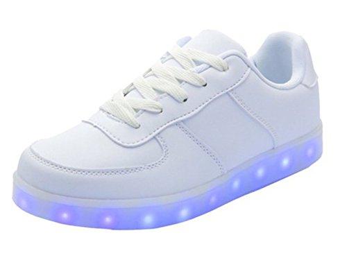(Present:kleines Handtuch)JUNGLEST Unisex 7 Farbe Farbwechsel USB Aufladen LED Leuchtend Sport Schuhe Sneaker Turnschuhe für D Weiß