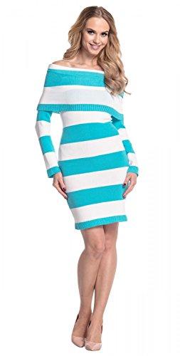Glamour Empire. Femme Robe en maille à rayures color block encolure Bardot. 887 Blanc & Cyan