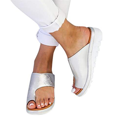 Womens Low Heeled Wedges, Clip Toe Slip-On Sandalen, PU Leder Sommer Strand Schuhe Slipper Flip-Flop für Damen Damen Plus Größe Low Wedge Flip Flop