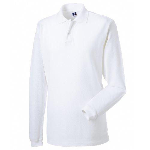 Russell - Polo Maniche Lunghe 100% Cotone - Uomo (L) (Bianco)