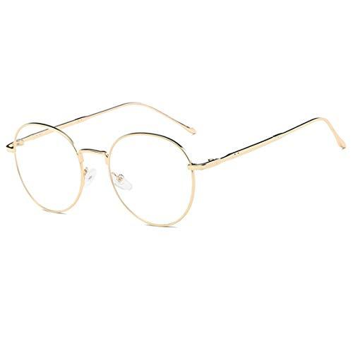 JIUPO Unisex Retro Runde Nerd Brille Ohne Sehstärke mit Nasenpad Sixties Style Metall Brillenfassung Golden