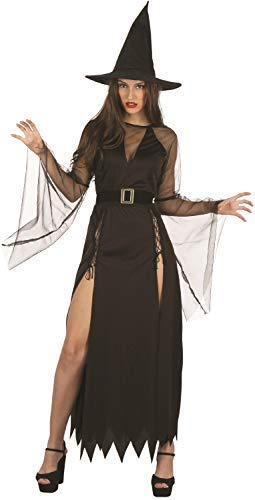 Ladies Classic Sultry Witch Long Black With Hat Halloween Horror Fancy Dress Costume (Horror Fancy Dress Kostüme)