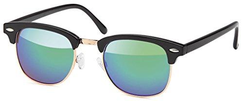Retro Vintage Clubmaster Sunglasses Sonnenbrillen mit 1/2 Rahmen und schwarz-goldenes Gestell, mit...