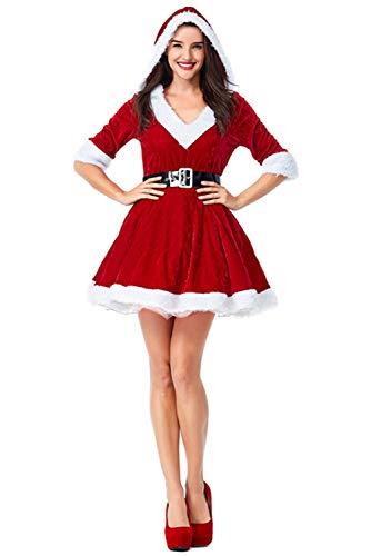 Kostüm Santa Claus - Tollstore Damen Weihnachtsfrau Kostüm Sexy Weihnachten Kleid Weihnachtskostüm Santa Claus Kostüm Kleid mit Weihnachtsmütze