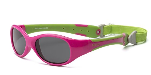 Real Kids Shades Explorer Flex Fit Removable Band with Polycarbonate Sunglasses (Lens 4 Plus, Cherry Pink/Lime Green)