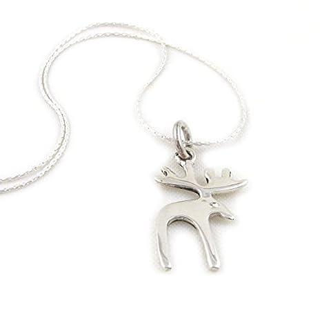 Solid 925 Sterling Silver Moose Elk Reindeer Necklace 45cm / 17.7