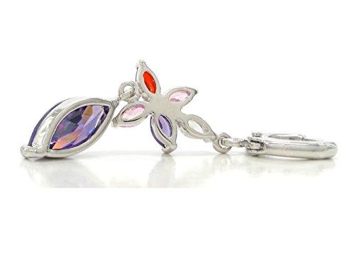 Vero oro bianco placcato viola marquise ametista tipo orecchini con scintillante piccole gemme e gioielli borsa con scatola regalo nero, Oro bianco, colore: Purple, cod. EC5