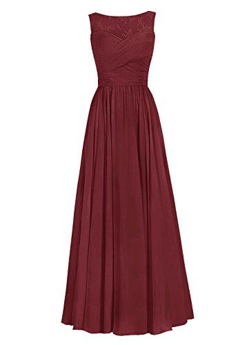 Dresstells, Robe de soirée Robe de cérémonie Robe de demoiselle d'honneur mousseline longueur ras du sol Bordeaux