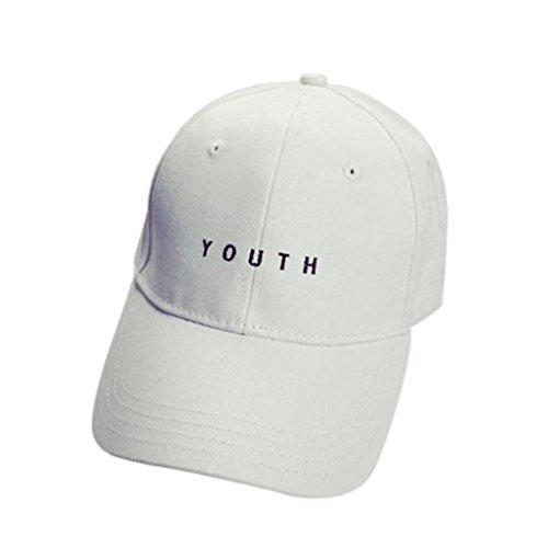 LCLrute Stickerei Baumwolle Baseballmütze Jungen Mädchen Snapback Hip Hop flache Hutmütze (Weiß) Stricken Hut Mit Visier Für Baby-jungen