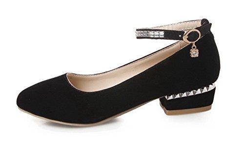 AllhqFashion Femme Pu Cuir à Talon Bas Rond Couleur Unie Boucle Chaussures Légeres Noir