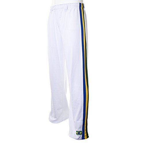 JL Sport Authentiques Brésilien Capoeira Arts Martiaux Pantalons pour Unisex (Blanc avec Le Brésil National De Couleur Verticales du Dos des Rayures)