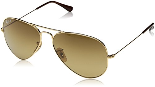 Ray Ban Sonnenbrille Aviator, 58 mm, Gestell: Gold, Gläser: Braun