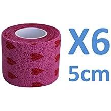 Venda Cohesiva Rosa Love 6 rollos x 5 cm x 4,5 m autoadhesivo flexible vendaje, calidad profesional, primeros auxilios Deportes Wrap Vendas - Pack de 6