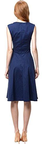 U-shot Femme Sans manche Plissé 50's Vintage Robe de Soirée Cocktail Bleu foncé