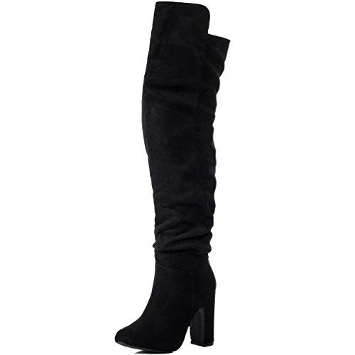 Spylovebuy Weitschaft Blockabsatz Overknee Stiefel Synthetik Wildleder Gr 36