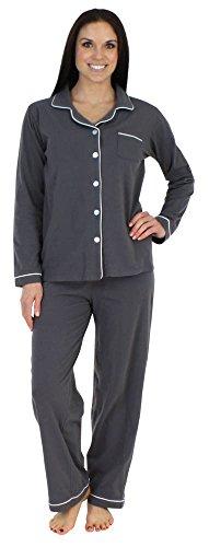 Klassischer Pyjama mit langen Ärmeln für damen von Sleepyheads zweiteiliger schlafanzug, Grau (Holzkohle), Gr. M (40-42)