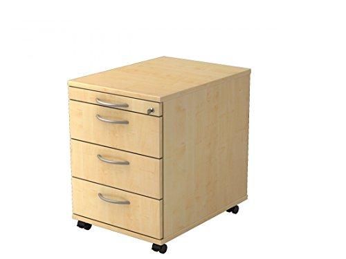 Rollcontainer mit 3 Schubladen DR-Büro - Maße 42,8 x 58 x 59 cm - in 7 Farbvarianten - abschließbar - eine Materialschublade, Farbe Büromöbel:Ahorn -