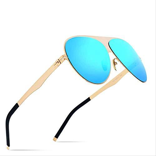 LKVNHP Polarisierte Sonnenbrille Männer Hohe Qualität Markendesigner Big Oversize Screwless Eyewear Sonnenbrille Für MännerBlau