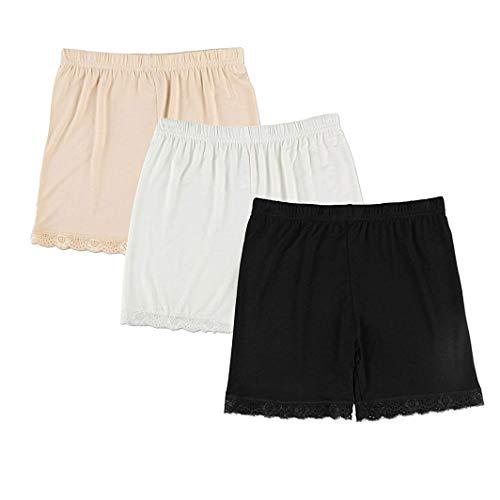 6989b10a15c16 Liang Rou Women's Spandex Thin Short Leggings 3-Pack Lace Trim Size S