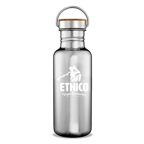 ETHICO Edelstahl Trinkflasche 750ml mit Bambus Kappe - Edelstahl 304 ist zu 100{2b90d8db84443ab090f3a0b02c1e5415b581940463258506f1e27e17c42bec4e} BPA-frei, frei von Antimon (Sb), DEHA, DEHP, PVC und Phthalaten. Vegan und Fair