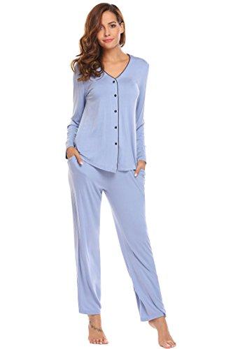 ADOME Damen Schlafanzug V-Ausschnitt lang Baumwolle herbst Winter Pyjama set Jersey Nachtwäsche warm sleepwear leicht Atmungsaktiv (Blau 2 Set Baumwolle Pyjama)