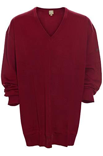 Maerz Pullover Pulli Merinowolle Herren Feinstrick V Ausschnitt Plusgröße, Farbe:rot, Herrengrößen:68