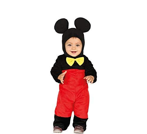 Guirca- costume topolino neonato 6/12 mesi, colore nero e rosso, 6-12, 88375