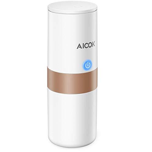 Macchina caffè portatile Aicok, macchina da caffè da viaggio, ricarica per auto, funzionamento a 1 pulsante, perfetta per il campeggio, i viaggi, la cucina e l\'ufficio