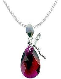 Crystals & Stones * Almond * * almendra * Elf estilo Swarovski Elements–Color * Rubby * Schön Mujer Collar–colgante collar joyas Tuerca regalo con cristales de swarovski