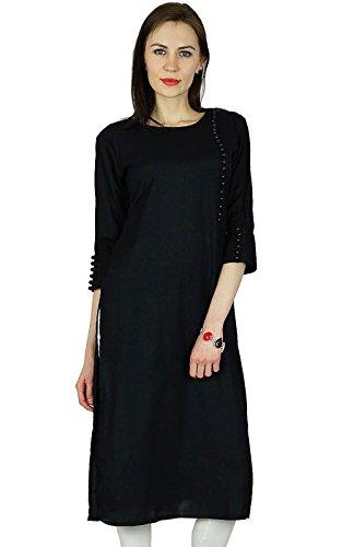 bimba-women-black-rayon-kurta-kurti-3-4-sleeve-formal-casual-tunic-blouse