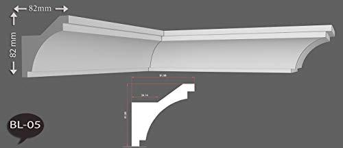 2m Indirekte LED Beleuchtung Zierprofile Stuckleisten Styropor Bordüre Dekor 82mmx82mm BL05