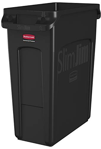 Rubbermaid Commercial Products Slim Jim Collecteur de déchets avec conduits d'aération, plastiqu