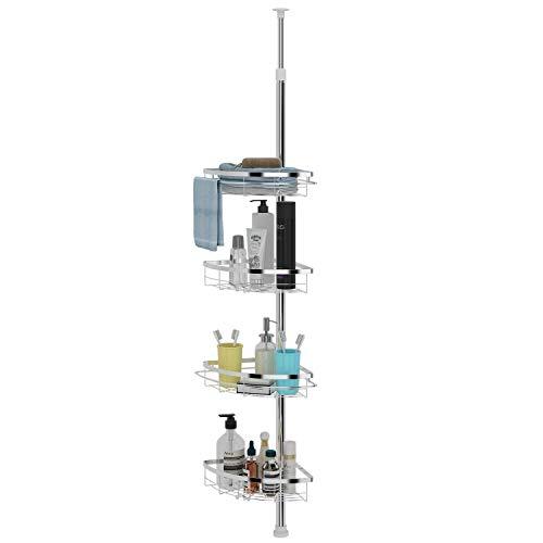 Lifewit Teleskop Duschregal Badregal mit vier höhenverstellbaren Körben Ablagen Badregal für Shampoo, Conditioner, Seife (Wasser Salz Conditioner)