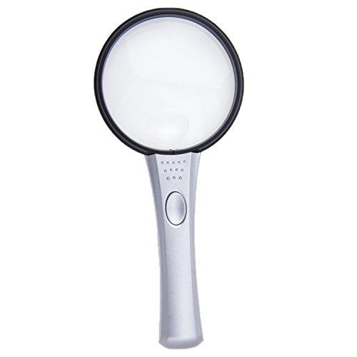 Qualität Vergrößerungsglas mit Licht beleuchtet Lupe Extra Groß Sichtglas Hand Held Lupe mit Beleuchtung 2x & 4x Dual Objektiv Vergrößerung & LED-Lampe Lesehilfe Sehbehinderten 108mm Handheld 7 Tv
