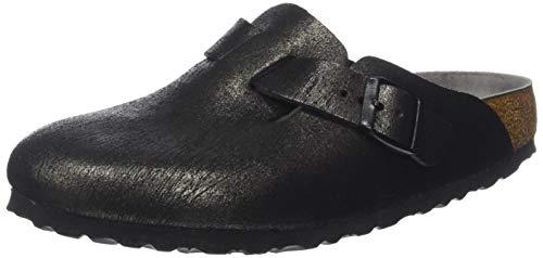 BIRKENSTOCK Damen Boston Clogs, Schwarz Washed Metallic Antique Black, 37 EU -