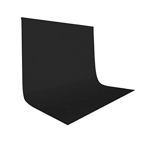 UTEBIT Schwarzer Hintergrund 2x3M/ 6x9FT Polyester Backdrop Schwarzer Stoff Faltbare Waschbar Black Background Tuch für Hintergrundstand, Fotografie, Fotoshooting,Video Foto - 2 X Stoff