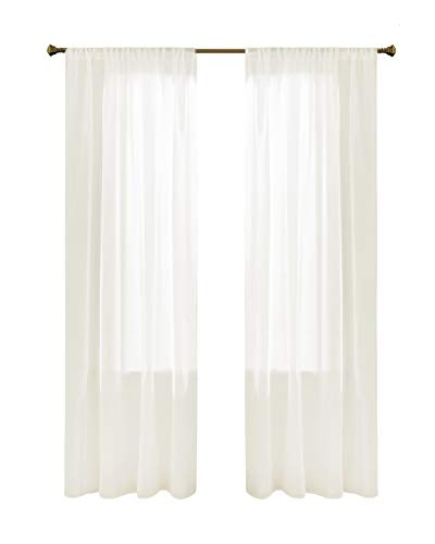 Gardinen Schals in Leinen-Optik Leinenstruktur Vorhänge Schlafzimmer Transparent Vorhang für Kleine Fenster Doris Off White, kurz (2er-Set, je 175x140cm)