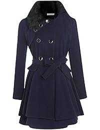Gfone Mujer Casual una línea Plisada Doble Capas Dobladillo Abrigo Outwear Abrigos
